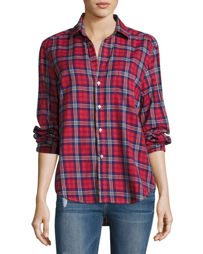 Eileen Plaid Button-Front Cotton shirt