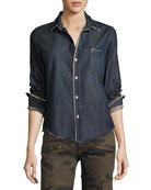 Barry Frayed Denim Button-Down Shirt