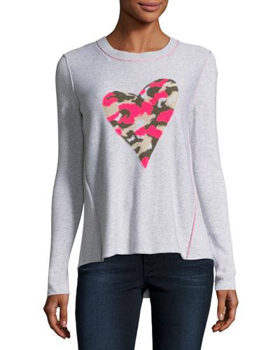 Swipe Right Camo-Heart Sweater, Plus Size