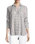 Eileen Grid-Print Long-Sleeve Button-Front Shirt