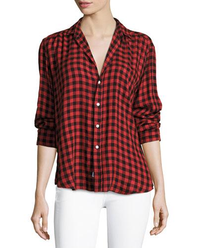 Eileen Button-Front Long-Sleeve Plaid Shirt