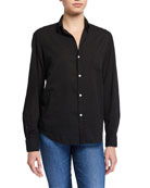 Eileen Long-Sleeve Button-Front Cotton Shirt