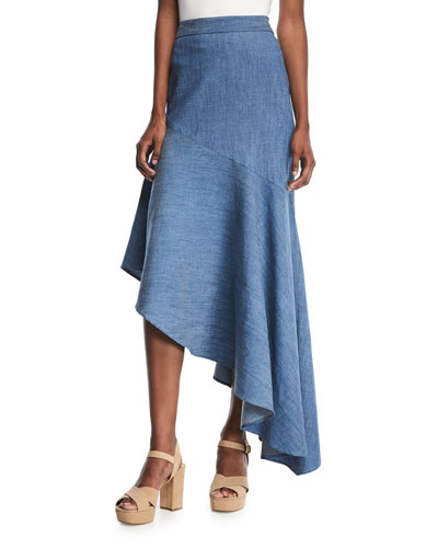 Molina Asymmetric Ruffled Chambray Maxi Skirt