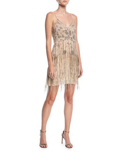 Taken Fringe V-Neck Sleeveless Mini Dress