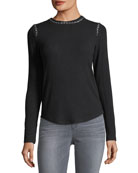 Paula Crewneck Long-Sleeve Sweater with Chain Details