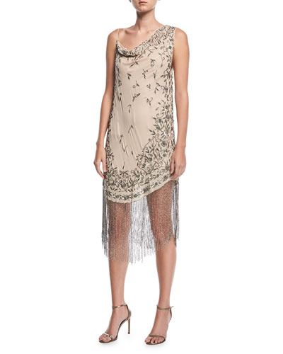Mojave Desert Asymmetric Beaded Fringe Dress