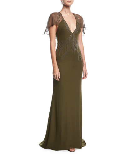 Shaded Palm Plunging-Neck Cape-Sleeve Evening Gown