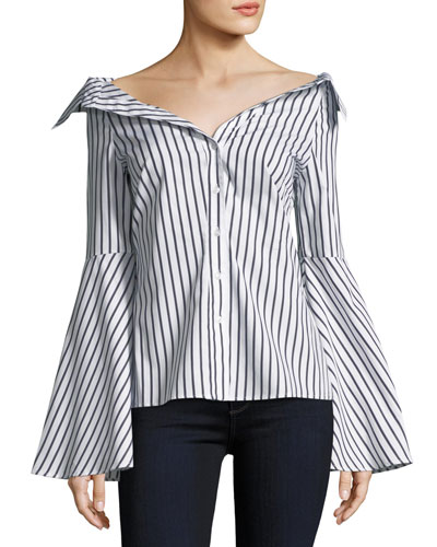 CAROLINE CONSTAS Persephone Off-The-Shoulder Button-Front Striped Poplin Top in White Pattern