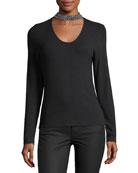 Nina Embellished-Collar Long-Sleeve Knit Top