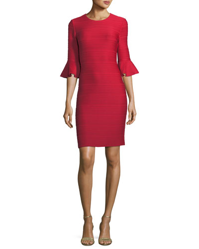 Bluxome Ribbed Bell-Sleeve Dress