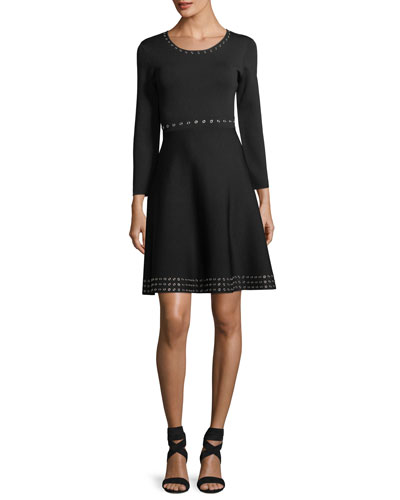 Grand Long-Sleeve A-Line Dress
