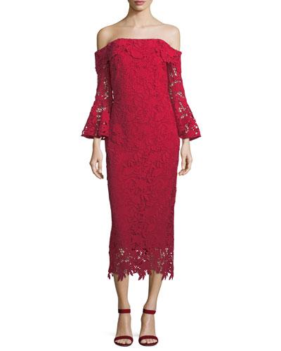 Harrison Lace Trumpet-Sleeve Cocktail Dress