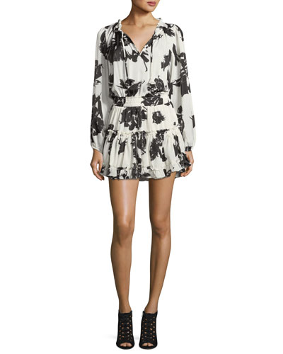 Lorena Split-Neck Floral-Print Mini Dress