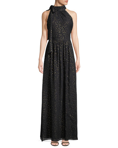 Kenmare Metallic Dot Column Gown