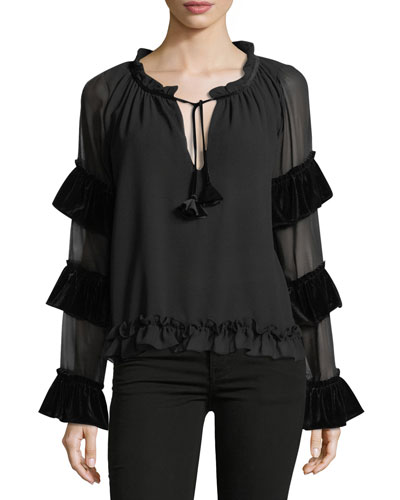 Emeline Tiered-Sleeve Chiffon Blouse with Velvet Trim