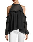 Pippa High-Neck Cold-Shoulder Blouse