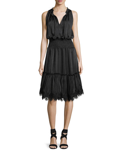 Moav Split-Neck Sleeveless Smocked-Waist Dress