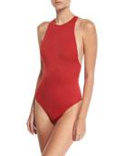Stella Racerback One-Piece Swimsuit w/ Zipper