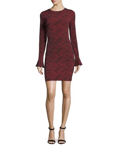 Long-Sleeve Flounce-Cuff Mesh Dress