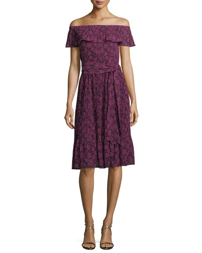 Star-Print Pleated-Trim Dress