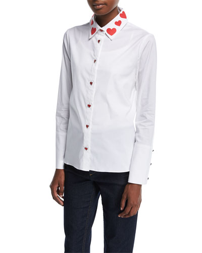 Faye Heart-Collar Button-Down Shirt