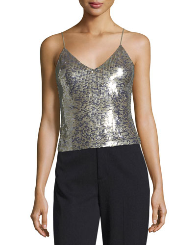 Delray Embellished Sequin Tank with Back-Zip