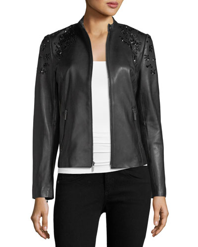 Bead-Embellished Leather Jacket