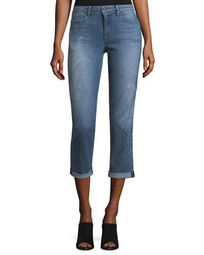 Courtney Stencil-Print Cuffed Jeans