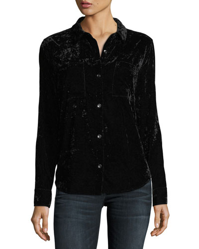 Button-Front Crushed Velvet Top