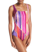 Art Deco Square-Neck One-Piece Swimsuit