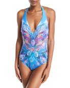 Dream Catcher Plunging Halter Printed One-Piece Swimsuit