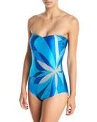 Kaleidoscope Bandeau One-Piece Swimsuit