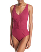 Landscape Lacing-Detail One-Piece Swimsuit