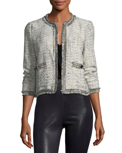 Belicia Round-Neck Tweed Jacket with Frayed Edges