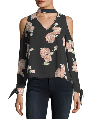Jon Cold-Shoulder Floral-Print Silk Blouse