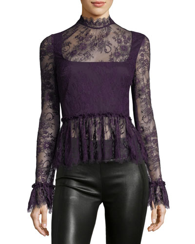 Camelia Mock-Neck Lace Blouse