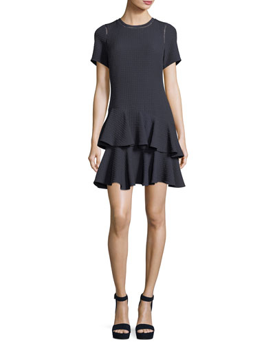 Crewneck Jacquard Mini Dress