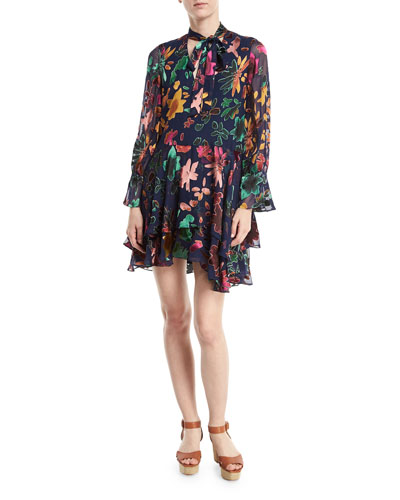 Moore V-Neck Burnout Velvet Tunic Dress with Layered Skirt