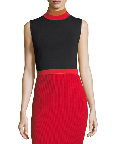 Sleeveless Cropped Turtleneck Rib-Knit Top