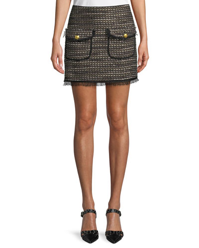 Margot Short Metallic Tweed Skirt