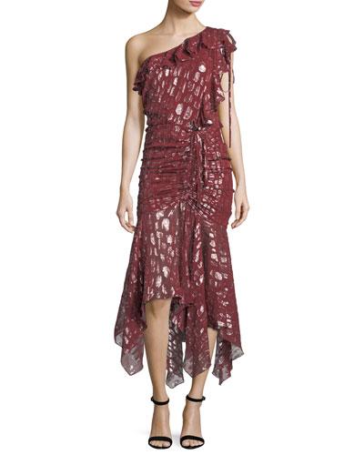 Leighton One-Shoulder Metallic Silk Dress