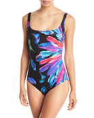 Reverie Square-Neck Feather-Print One-Piece Swimsuit