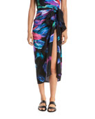 Reverie Feather-Printed Silk Pareo Coverup, One Size