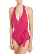 Au Natural Plunging Halter One-Piece Swimsuit with Bow