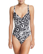 Pomelo V-Neck One-Piece Swimsuit