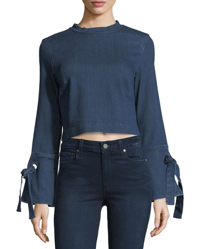 Hollow Tie-Cuffs Cropped Denim Shirt