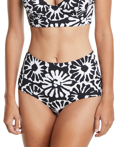 Pomelo Floral-Print High-Waist Swim Bottoms