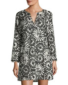 Pomelo V-Neck Floral-Print Beach Coverup Tunic