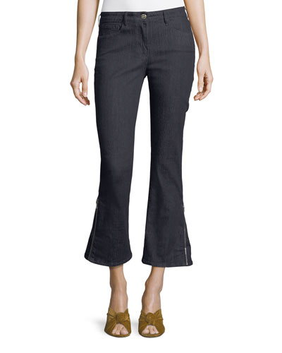 W25 Mid-Rise Zip-Cuff Flared Ankle Jeans