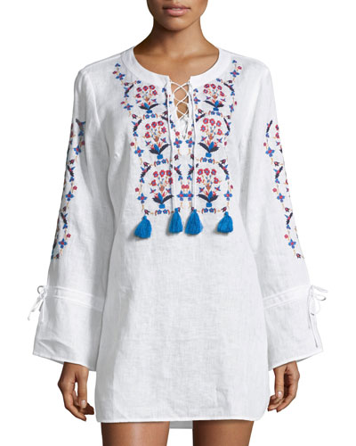 Wildflower Lace-Front Embroidered Beach Tunic